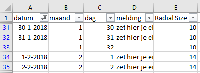 Blog Sunburst kalender - Excel 32 dagen per maand kalender - Infotopics Tableau Gold Partner