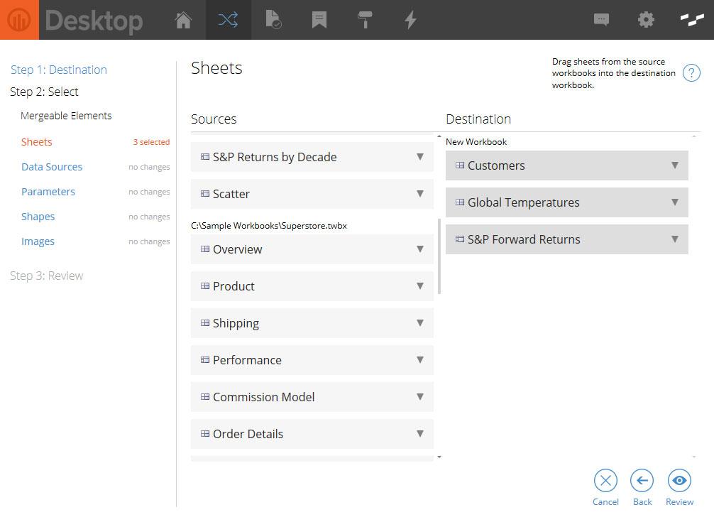 Powertools for Tableau Desktop Workbook Merge