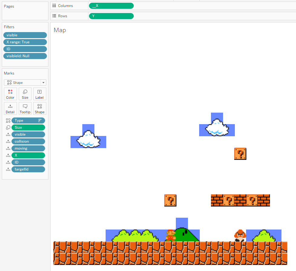 Extensions in Tableau - work in Progress on Super Mario Bros to play Mario in Tableau