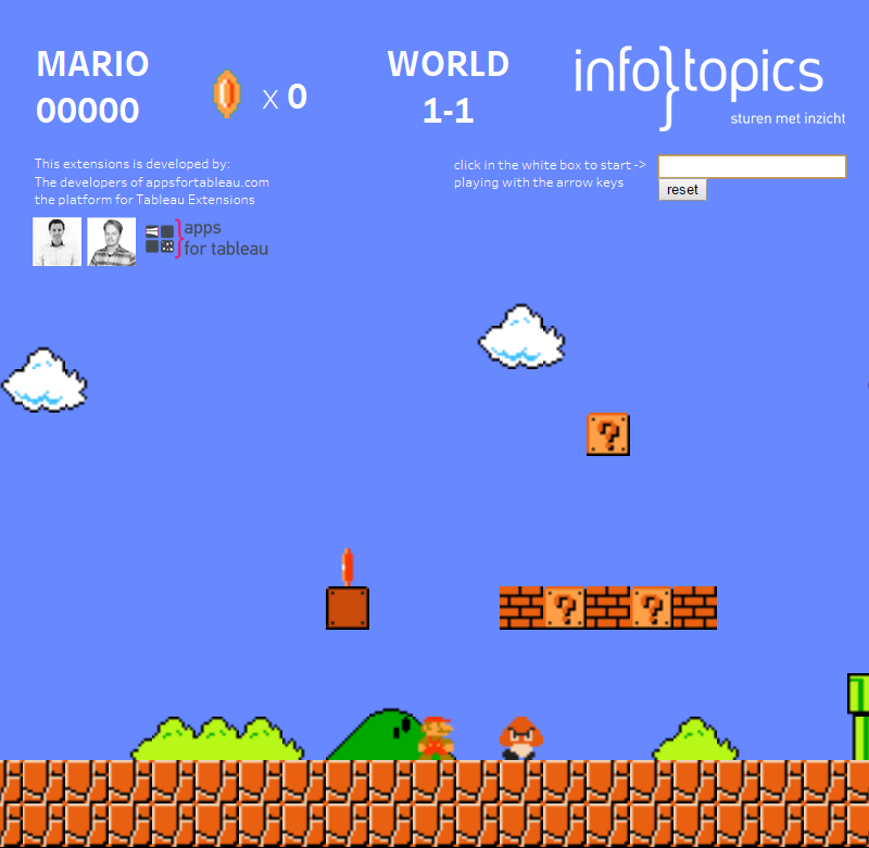 Game Engine Tableau Extension for Mario in Tableau - Now we can play Super Mario Bros in Tableau just using a scatterplot and an extensions