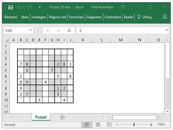 Sudoku puzzel in Excel