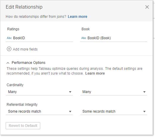 Data modelleren met Tableau Relationships - Edit relationships